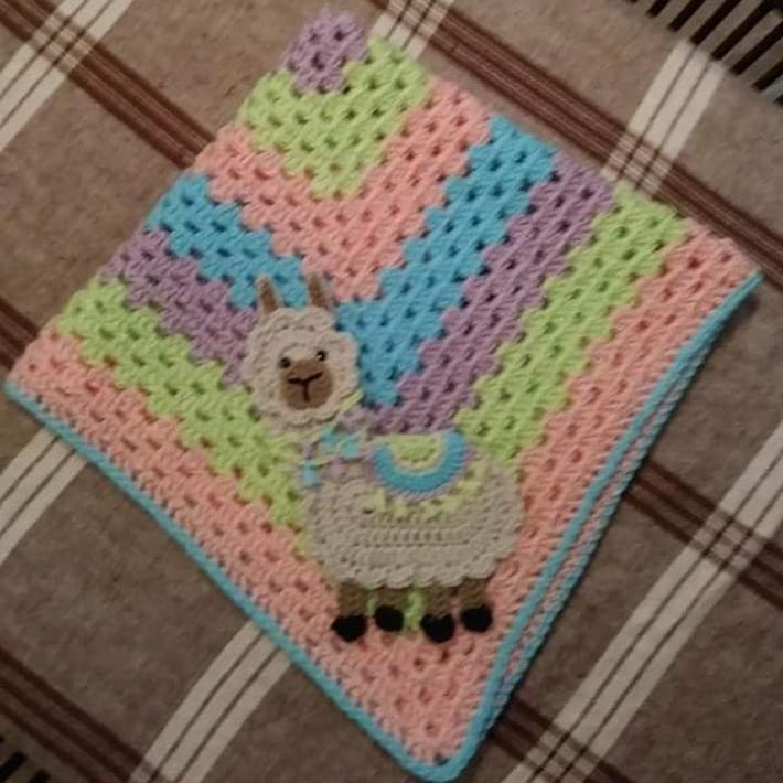 crocheted llama paster granny square blanket FREE SHIPPING