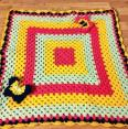 crocheted bright butterfly granny square blanket FREE SHIPPING