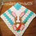 crocheted blue Easter bunny blanket FREE SHIPPING