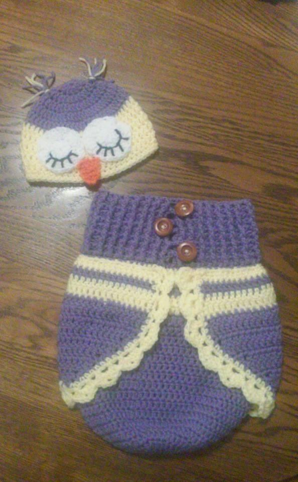 owl sleep sack and hat FREE SHIPPING