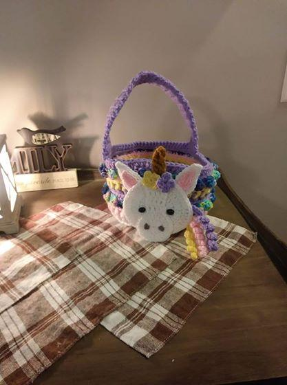 crocheted unicorn Easter basket FREE SHIPPING