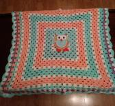 owl granny square crochet blanket FREE SHIPPING