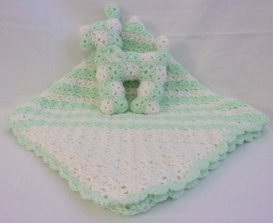 Green Basketweave Receiving Baby Blanket and Toy Stuff dog