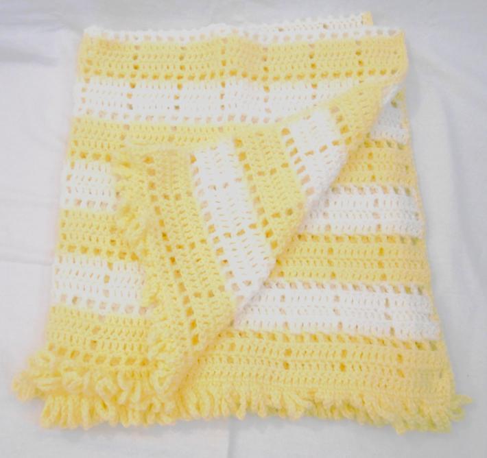 Yellow and White Openwork Baby Blanket