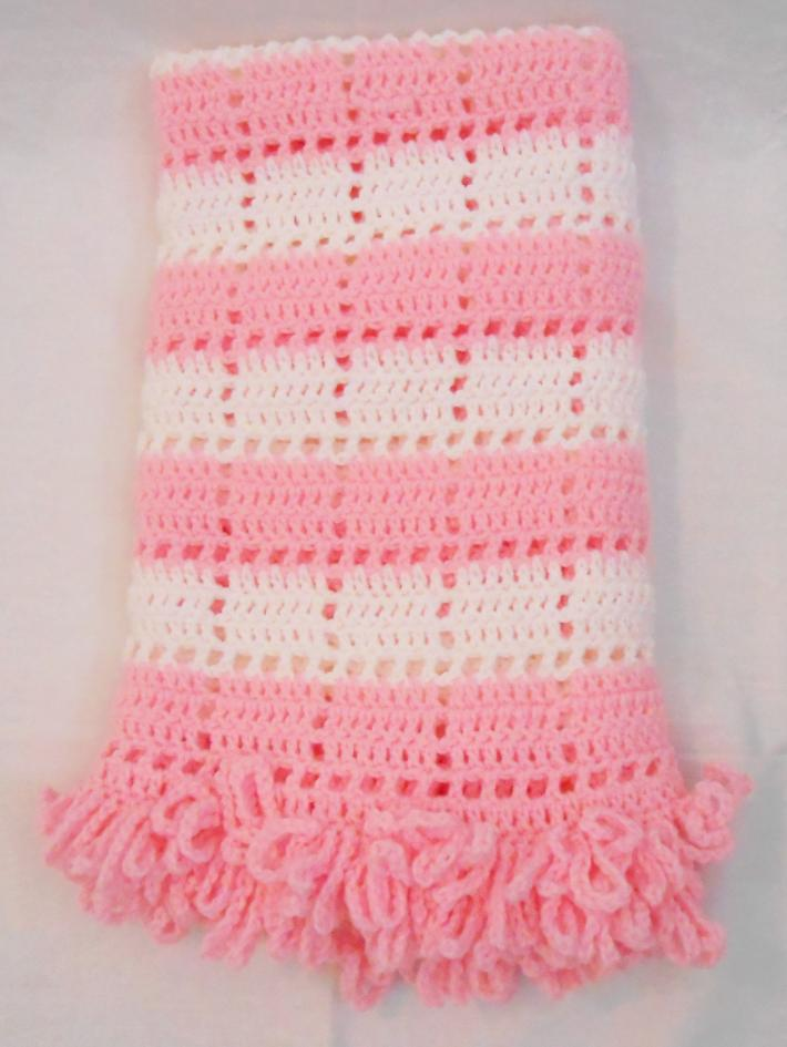 Pink and White Openwork Baby Blanket