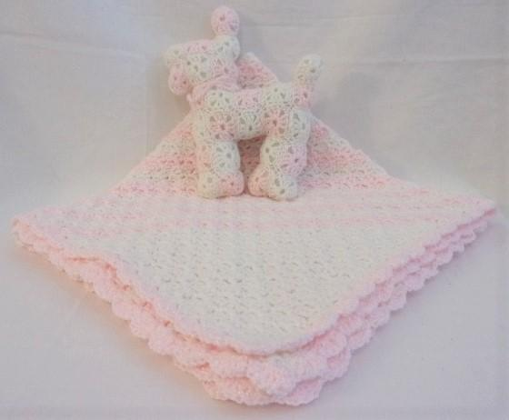 Pink and White Basketweave Baby Blanket and Toy Dog