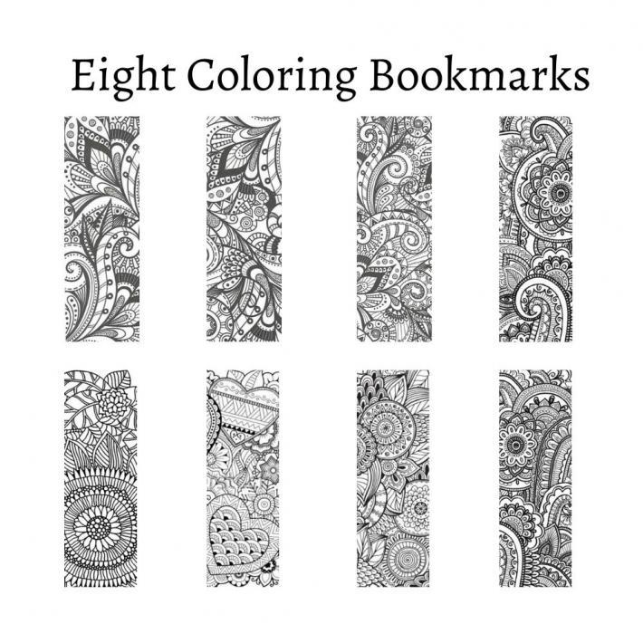 Pattern Coloring Bookmarks Set 2