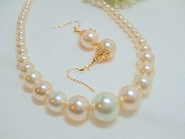 Graduated Creme Pearl Necklace and Earrings set