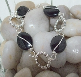 A New Point of View Blackstone and Silver Link Bracelet