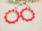 Red Beaded Hoop earrings
