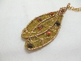 Autumn Stroll Wool Felt and Wire Leaf Handmade Pendant Necklace