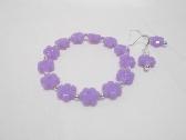 Pretty Purple Flower Stretch Bracelet and Earrings set