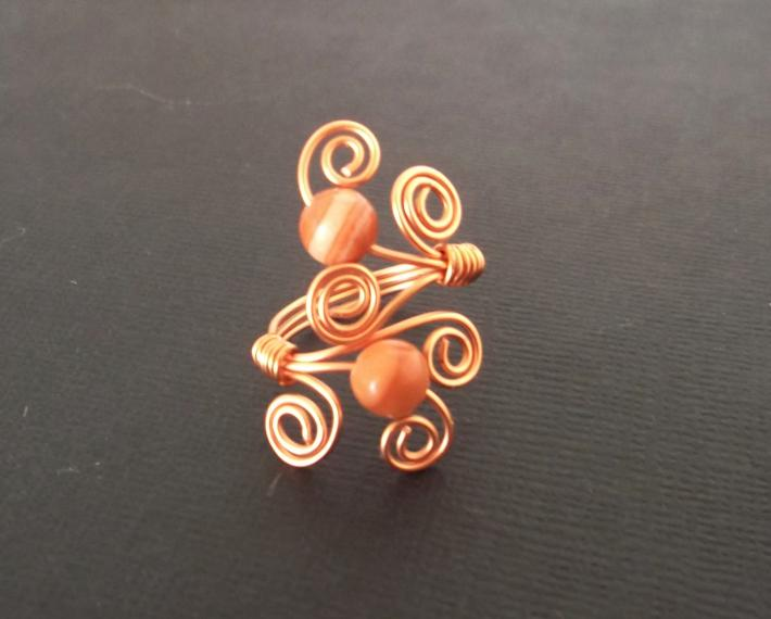 Copper and Italian Onyx Swirl Ring