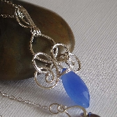 charlemagne wire wrapped necklace in blue