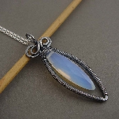 moonlight opalite wire wrapped necklace