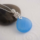Arrabelle aqua blue wire wrapped necklace