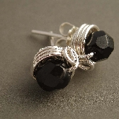Mulberry wire wrapped black post earrings