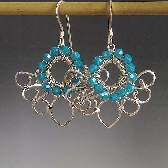 Cleopatra wire wrapped earrings in turquoise blue
