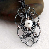 Renaissance wire wrapped Necklace in sterling silver and fresh water pearl
