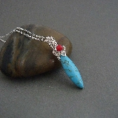 Indira wire wrapped Necklace in turquoise and red coral