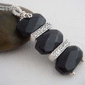 Ebony Trio wire wrapped black necklace