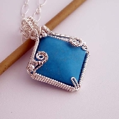 Claire wire wrapped pendant Sterling silver and turquoise