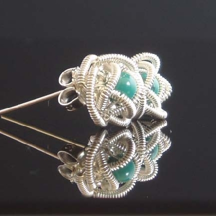 Wire Wrapped Rose buds post Earrings tutorial No solderFrom Colettesboutique
