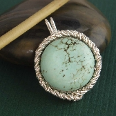 Twister wire wrapped pendant blue green turquoise and sterling silver