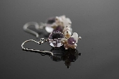 Riviera wire wrapped earrings in pink cream and purple