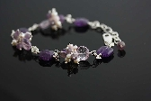 Riviera wire wrapped bracelet in pink cream and purple