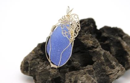 Cobalt Blue Swirls and Curls Sea Glass Pendant BL001