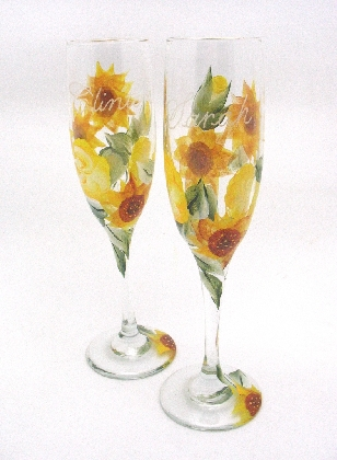Custom Hand Painted Toasting Flutes