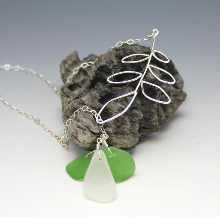 Sterling Leaves Sea Glass necklace