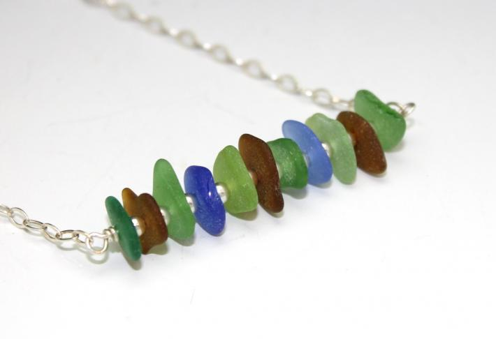 Sterling Sea Glass Bar Necklace B002