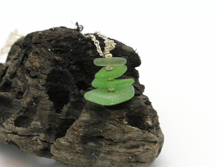 Green Sea Glass Stack S003