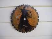 Halloween Primitive Witch Handpainted on Upcycled Saw Blade