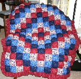 Puff Quilt in Colonial Red Blue White