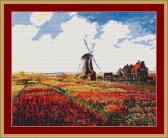 A Field Of Tulips In Holland Cross Stitch Pattern