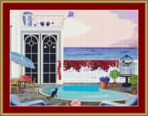 Cat By The Pool Cross Stitch Pattern