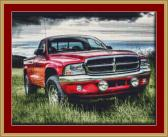 Red Dodge Cross Stitch Pattern