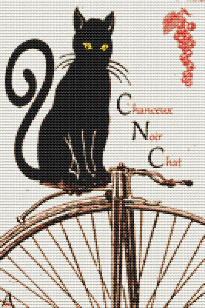 Chat Noir Cross Stitch Pattern
