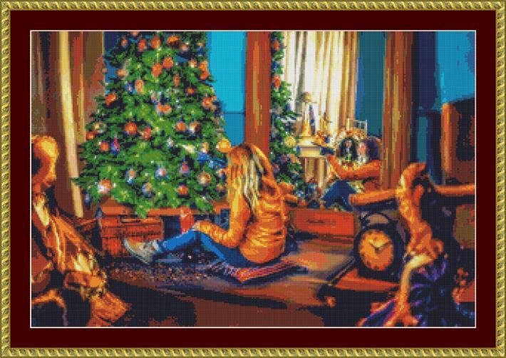 By The Christmas Tree Cross Stitch Pattern