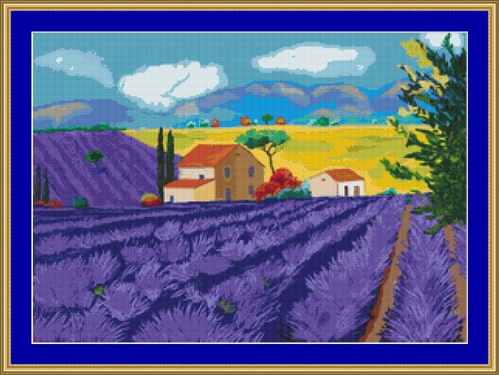 In Amongst The Lavender Cross Stitch Pattern