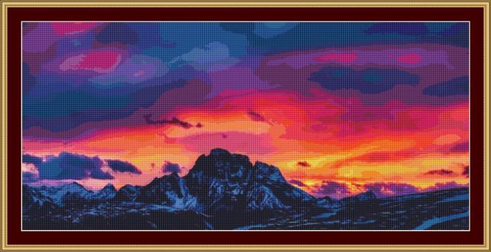 Dolomite Sunset Cross Stitch Pattern