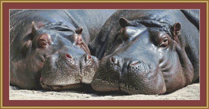 Hippos Cross Stitch Pattern