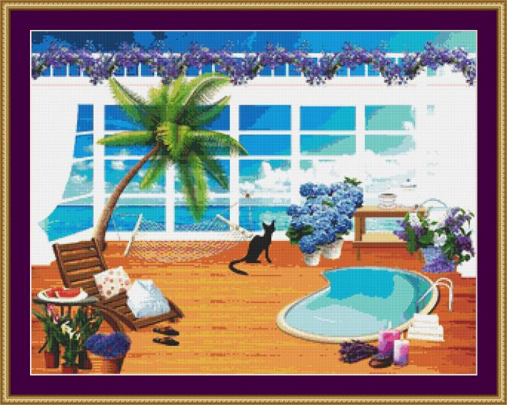 Cat On The Balcony Cross Stitch Pattern