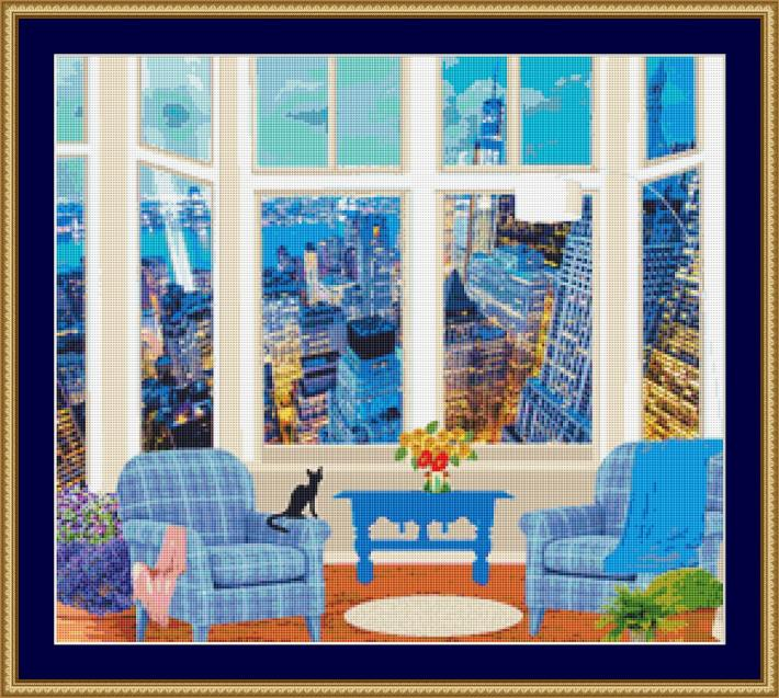 Cat Looking At The City Lights Cross Stitch Pattern