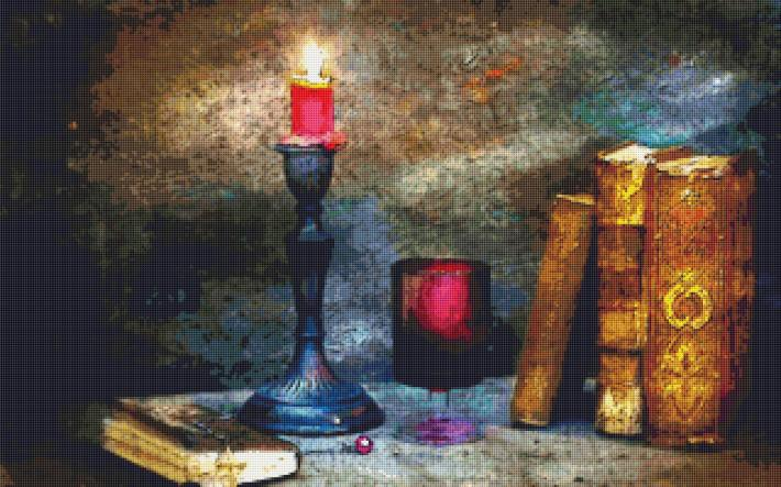 Reading By Candle Light Cross Stitch Pattern