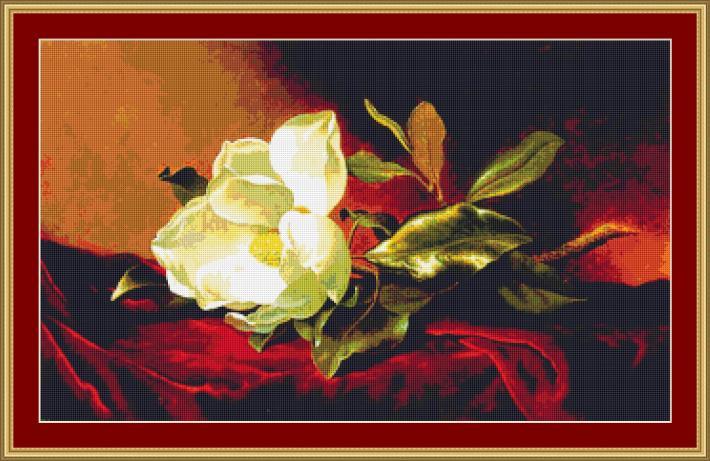 A Magnolia On Red Velvet Cross Stitch Pattern