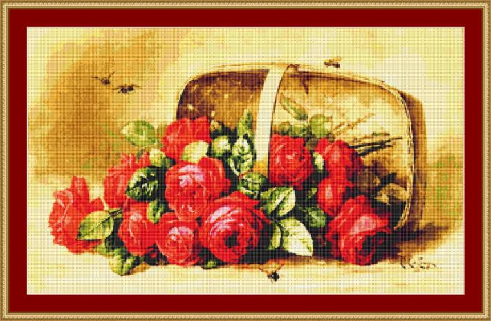 Basket Of Beauties Roses Cross Stitch Pattern